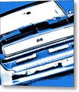 1969 Chevy Camaro Ss - Blue Negative Metal Print
