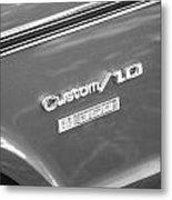 1970 Chevy Custom 350 Truck Bw Metal Print