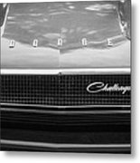 1970 Dodge Challenger Rt Convertible Grille Emblem -0545bw Metal Print