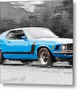 1970 Ford Mustang Boss Blue Watercolor Metal Print