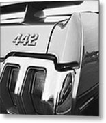1970 Olds 442 Black And White Metal Print
