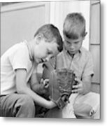 1970s Two Boys Seriously Inspecting New Metal Print
