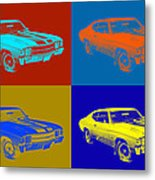 1971 Chevrolet Chevelle Ss Pop Art Metal Print