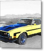 1971 Ford Mustang Boss Watercolor Metal Print