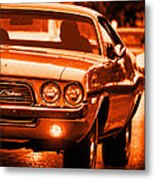 1972 Dodge Challenger In Orange Metal Print