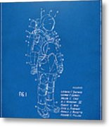 1973 Space Suit Patent Inventors Artwork - Blueprint Metal Print by Nikki Marie Smith