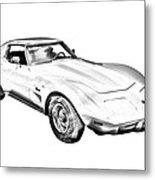 1975 Corvette Stingray Sports Car Illustration Metal Print