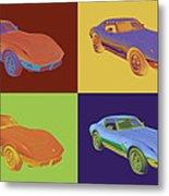 1975 Corvette Stingray Sportscar Pop Art Metal Print