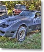 1977 Corvette Black Metal Print