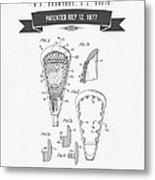 1977 Lacross Stick Patent Drawing - Retro Gray Metal Print