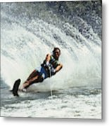 1980s Man Waterskiing Making Fan Metal Print