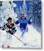 1990s Couple Skiing Vail Colorado Usa Metal Print