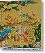 1994 Japanese Stamp Collage Metal Print