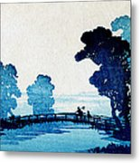19th C. Japanese Father And Son Crossing Bridge Metal Print