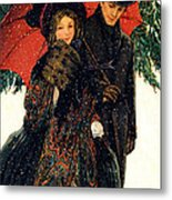 19th C. Young Couple In Winter Metal Print