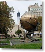 1w T C And The W T C Fountain Sphere Metal Print