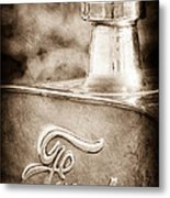 1911 Ford Model T Torpedo 4 Cylinder 25 Hp Hood Ornament - Emblem Metal Print by Jill Reger
