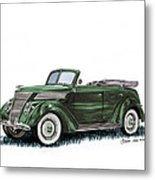 1937 Ford 4 Door Convertible Metal Print
