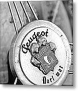1937 Peugeot 402 Darl'mat Legere Special Sport Roadster Recreation Steering Wheel Emblem Metal Print by Jill Reger