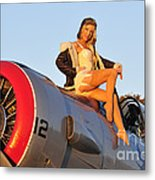 1940s Style Aviator Pin-up Girl Posing Metal Print