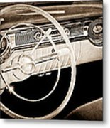 1956 Oldsmobile Starfire 98 Steering Wheel And Dashboard Metal Print