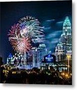 4th Of July Firework Over Charlotte Skyline Metal Print