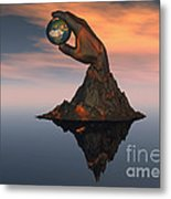 A 3d Conceptual Image Of The World Metal Print