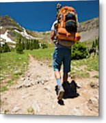 A Backpacker Hiking Metal Print