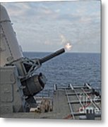 A Close-in Weapons System Is Fired Metal Print