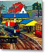 A Digitally Converted Painting Of Llangollen Railway Station North Wales Uk Metal Print