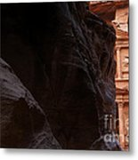A Glimpse Of Al Khazneh From The Siq In Petra Jordan Metal Print