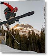 A Man Jumping On His Skis, San Juan Metal Print