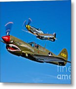 A P-40e Warhawk And A P-51d Mustang Metal Print