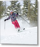 A Skier Descends A Snowy Slope Metal Print