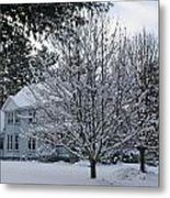 A Wintery View Along Conifer Drive In Burnt Hills Metal Print