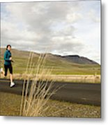 A Woman Out For A Jog In The Country Metal Print