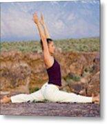 A Woman Practicing Yoga On A Dry Lake Metal Print