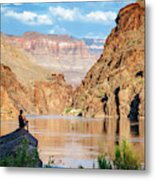 A Woman Sits By The Colorado River Metal Print