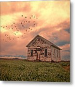 Abandoned Building In A Storm Metal Print