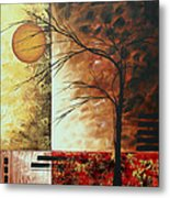 Abstract Gold Textured Landscape Painting By Madart Metal Print