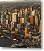 Aerial View Of Seattle Skyline Along Waterfront Metal Print