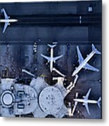 Airliners At  Gates And Control Tower Metal Print