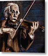 Albert Einstein And Violin Metal Print