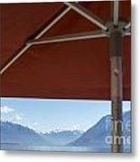 Alpine Lake With Parasol Metal Print