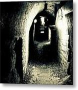 Altered Image Of A Tunnel In The Catacombs Of Paris France Metal Print