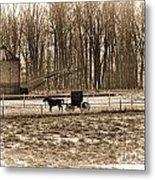 Amish Buggy And Corn Crib Metal Print