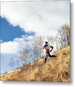 An Adult Male Trail Running Metal Print