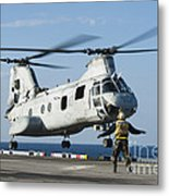An Aviation Boatswains Mate Directs Metal Print
