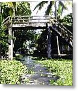 An Old Stone Bridge Over A Canal In Alleppey Metal Print