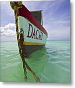 Anchored Colorful Fishing Boat Of Aruba II Metal Print